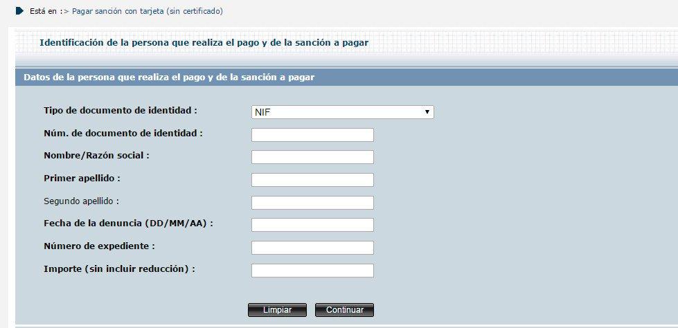 Pago de multas en la web de la DGT
