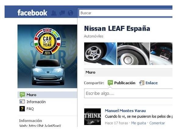 Nissan Leaf y su página de facebook