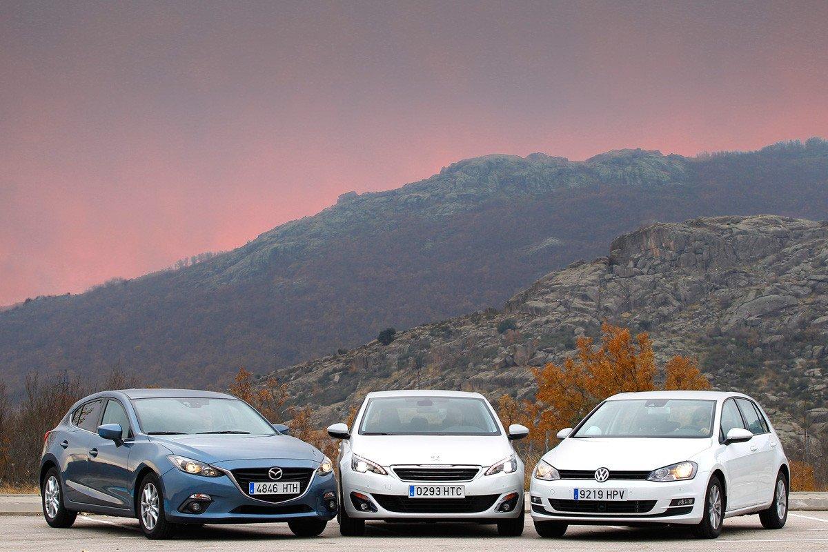 Volkswagen Golf, Mazda3 y Peugeot 308