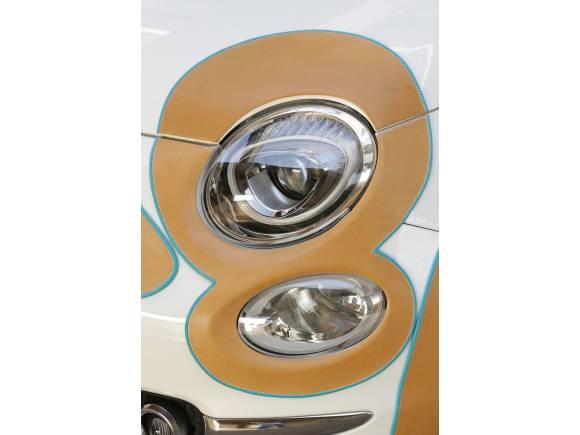 Un Fiat 500 solidario con cuero en la carrocería