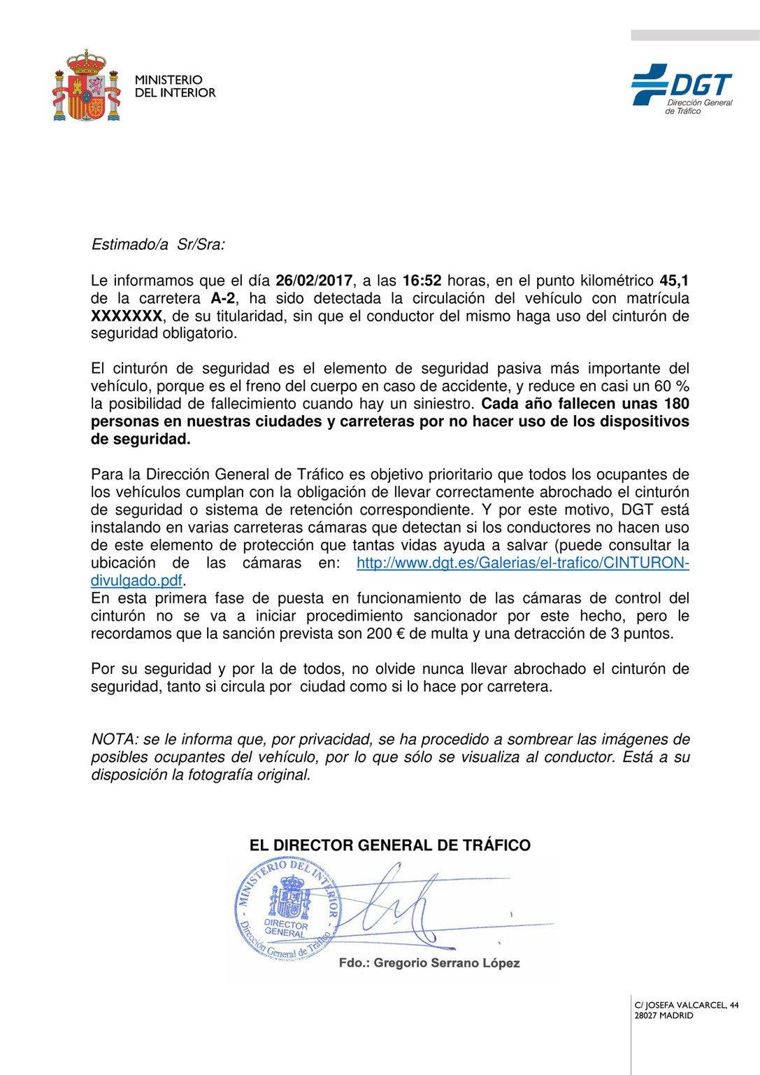 Carta informativa DGT