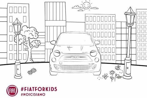 Fiat crea láminas que los niños dibujen y coloreen el Fiat 500